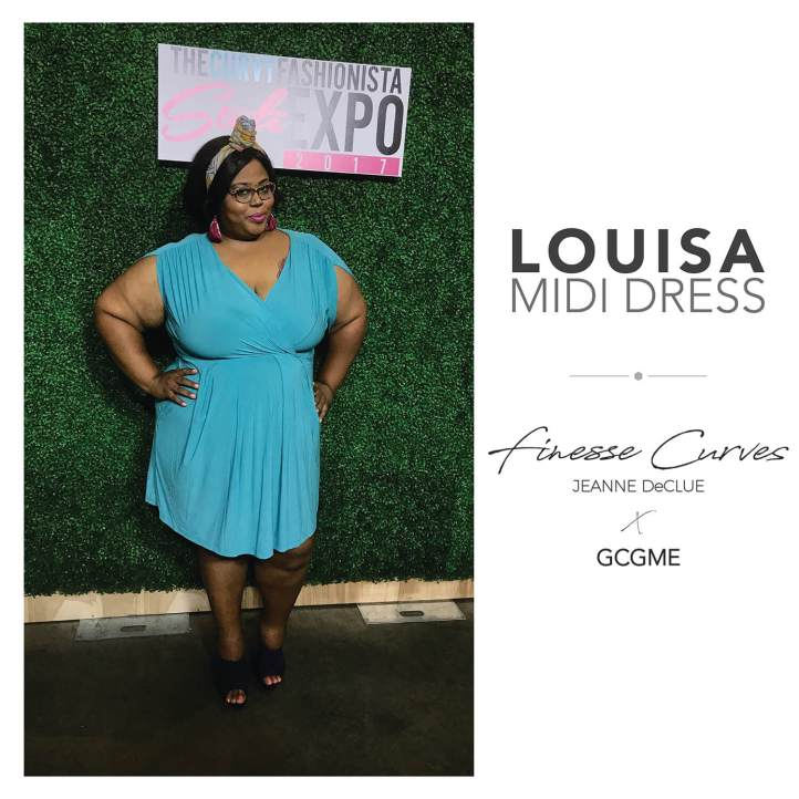 GC me styles the Louisa dress in a size 4X for a smashing red carpet look at the Atlanta TCF Style Expo