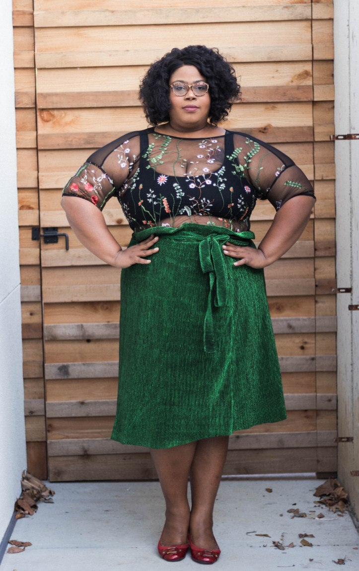 Emboridered plus size top with Premme skirt. http://FinesseCurves.com